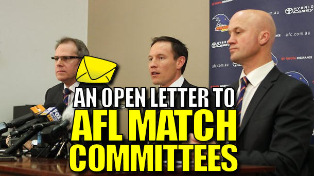 An Open Letter To: AFL Club Match Committees