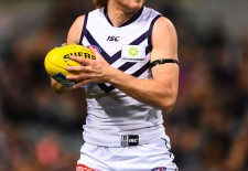 David Mundy of the Fremantle Dockers in action during the 2014 AFL Round 19 match between the Fremantle Dockers and the Carlton Blues at Patersons Stadium, Perth on July 31, 2014. (Photo: Daniel Carson/AFL Media)